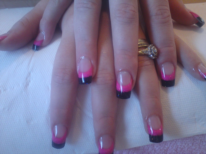 hot magenta pink and black glitter